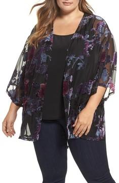 Daniel Rainn Plus Size Women's Burnout Velvet Kimono Jacket