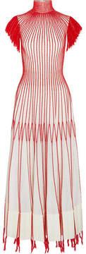 Alexander McQueen Tasseled Embroidered Plissé-silk Midi Dress