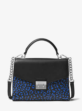 Michael Kors Sloan Leopard Leather Satchel - BLACK - STYLE