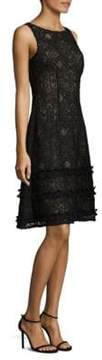 Aidan Mattox Sleeveless Lay Over Ruffle Dress