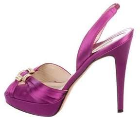 Brian Atwood Satin Slingback Sandals