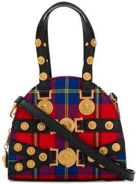 Versace red Tribute tartan leather and cotton bag