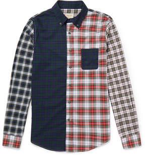 Lardini Wooster + Button-Down Collar Patchwork Cotton Shirt