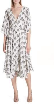 A.L.C. McKenna Print Asymmetrical Silk Dress