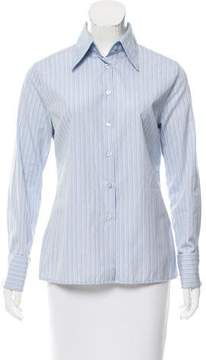 Mulberry Striped Button-Up Top