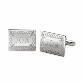 Asstd National Brand Personalized Diamond Pattern Cuff Links