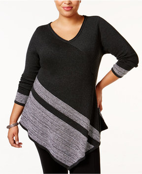 Belldini Plus Size Asymmetrical Colorblocked Sweater