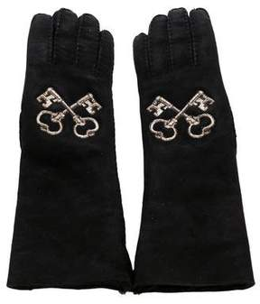 Dolce & Gabbana Embroidered Key Gloves w/ Tags