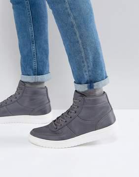 Asos High Top Sneakers In Gray Nylon