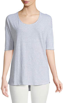 Allen Allen Half-Sleeve Striped High-Low Tee
