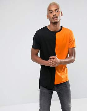 New Look Color Block T-Shirt In Black And Orange