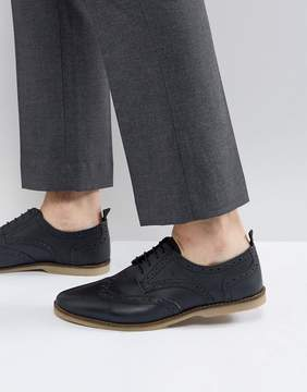 Asos Casual Brogue Shoes In Navy Leather With Gum Sole