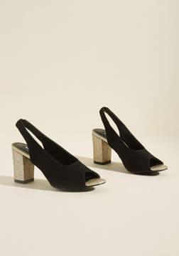 Michael Antonio Footwear Group Glittery Peep Toe Block Heel