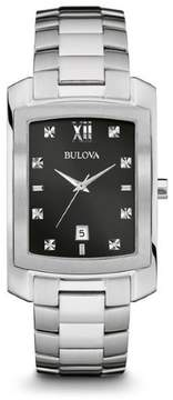 Bulova Diamond 96D125 Silver/Black Analog Quartz Men's Watch