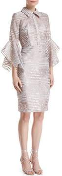 Badgley Mischka Organza Striped Trumpet-Sleeve Shirtdress