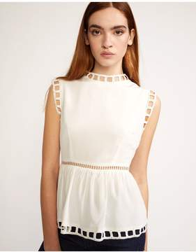 Cynthia Rowley | White Postcard Peplum Top | L | White