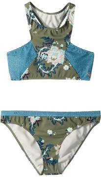 Roxy Kids Surf the Desert Crop Top Swim Set Girl's Swimwear Sets
