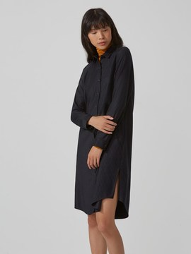 Frank and Oak Chalkstriped Stretch-Wool Shirtdress in Navy