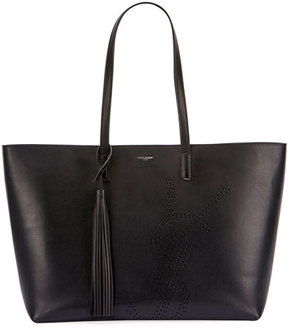 Saint Laurent Large Perforated Leather Shopping Tote Bag - BLACK - STYLE