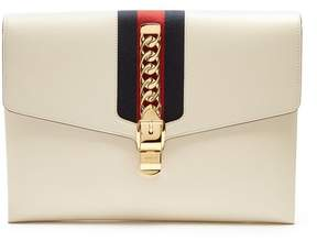 Gucci Sylvie Leather Shoulder Clutch - Womens - White
