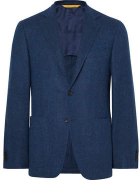 Canali Storm-Blue Kei Slim-Fit Unstructured Herringbone Wool Blazer