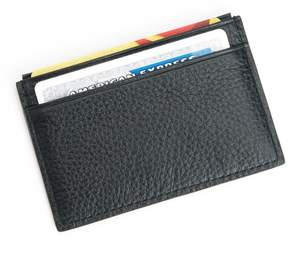 Royce RFID-Blocking Black Nappa Leather Slim Credit Card Wallet
