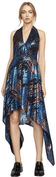 BCBGMAXAZRIA Maegan Metallic Jacquard Halter Dress