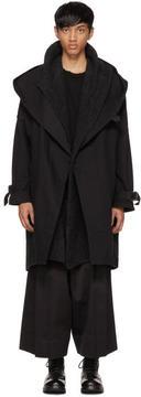 Isabel Benenato Black Oversized Mix Trench Coat