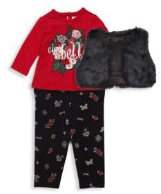 Petit Lem Baby Girl's Ciao Bella Three-Piece Leggings, Top and Faux Fur Vest Set