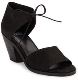 Eileen Fisher Ann Stacked Heel Nubuck Sandals