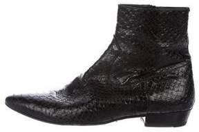 Saint Laurent 2016 Snakeskin Ankle Boots