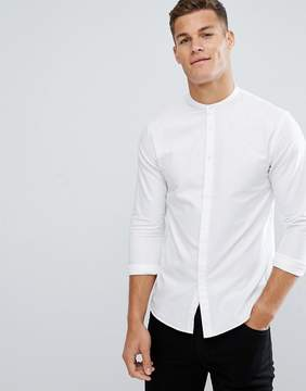 Kiomi Longline Shirt With Grandad Collar In White