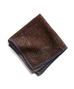 Todd Snyder Italian Wool Burgundy Paisley Pocket Square