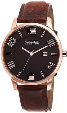 August Steiner Mens Brown Strap Watch-As-8108rg