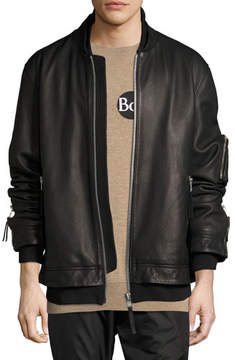 Public School Rudyard Leather Bomber Jacket, Black