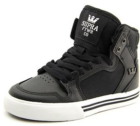 Supra Vaider Round Toe Leather Sneakers.