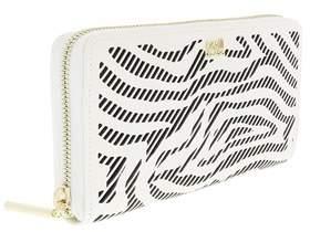 Roberto Cavalli Long Size Wlt W/zipper Audrey White/black Wallet