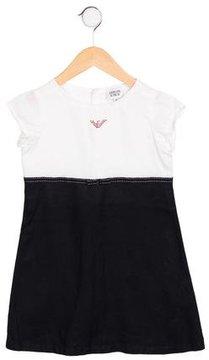 Armani Junior Girls' Linen Two-Tone Dress