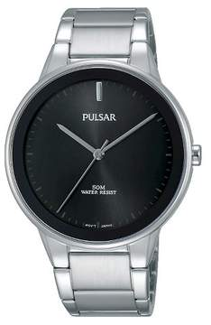 Pulsar Men's Silver Tone with Black Dial and Bezel PG2043