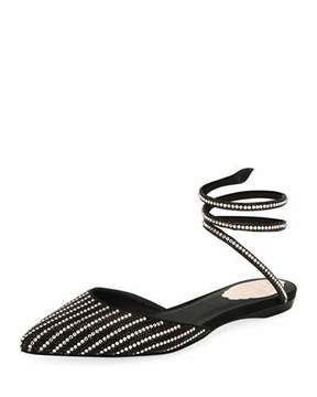 Rene Caovilla Beaded d'Orsay Ankle-Coil Flat