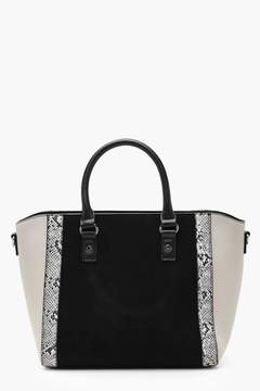 boohoo Faux Snake Trim Winged Tote