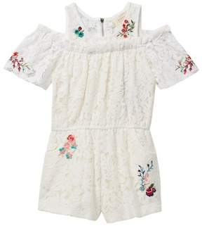 Hannah Banana Lace Romper with Flowers (Toddler & Little Girls)