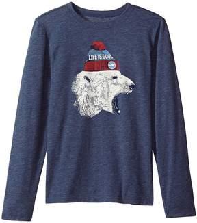 Life is Good Polar Bear Cap Long Sleeve Cool Tee Boy's T Shirt