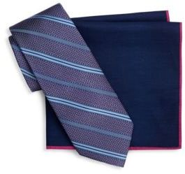 Ted Baker Two-Piece Stripe Silk Tie and Pocket Square Set