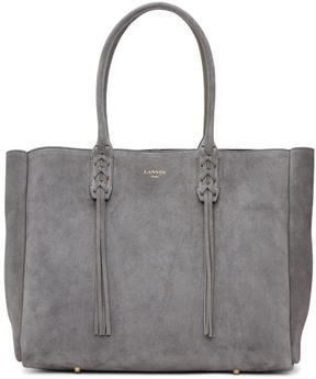 Lanvin Grey Suede Small Shopper Tote