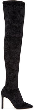 Jimmy Choo Black Velvet Lorraine Over-the-Knee Boots