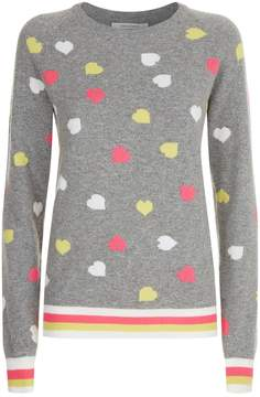 Chinti and Parker Hearts Lurex Stripe Sweater