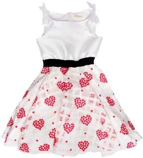 MonnaLisa Hearts Organza & Duchesse Satin Dress