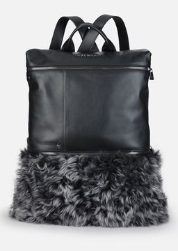 Emporio Armani mottled sheepskin and smooth leather backpack
