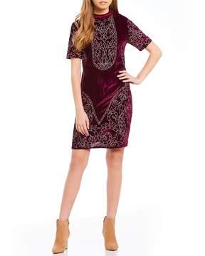 Chelsea & Violet Velvet Embroidered Shift Dress